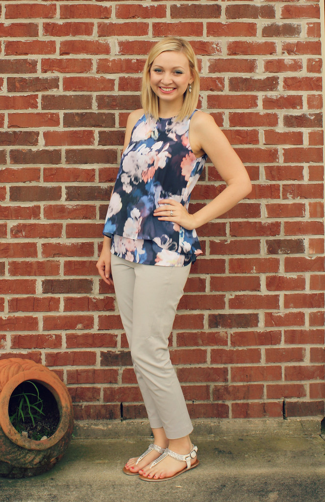 navy floral blouse + gray pants
