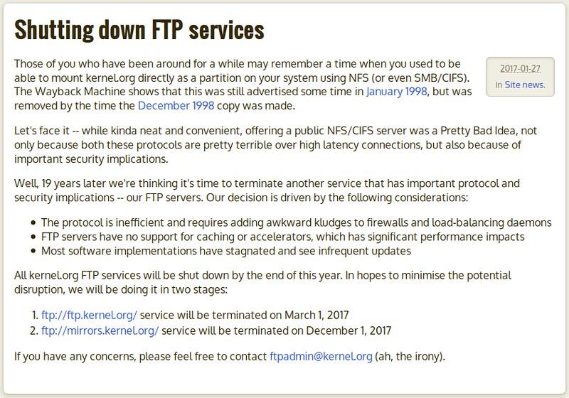 Kernel.org FTP szolgáltatás fokozatos lekapcsolása