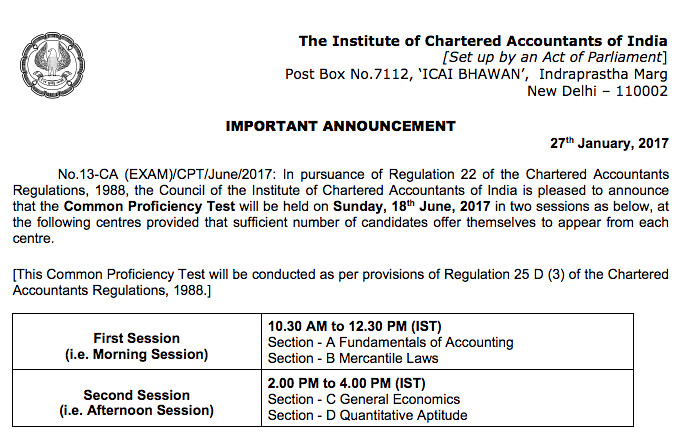 CA CPT Exam Date June 2017, CPT Time Table June 2017