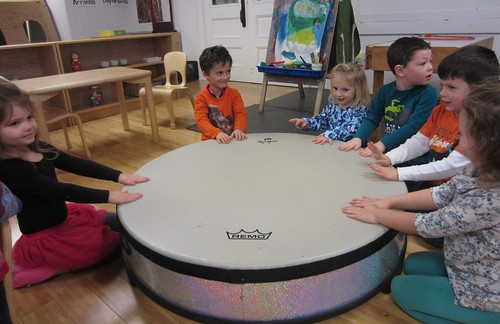 drumming on the big drum