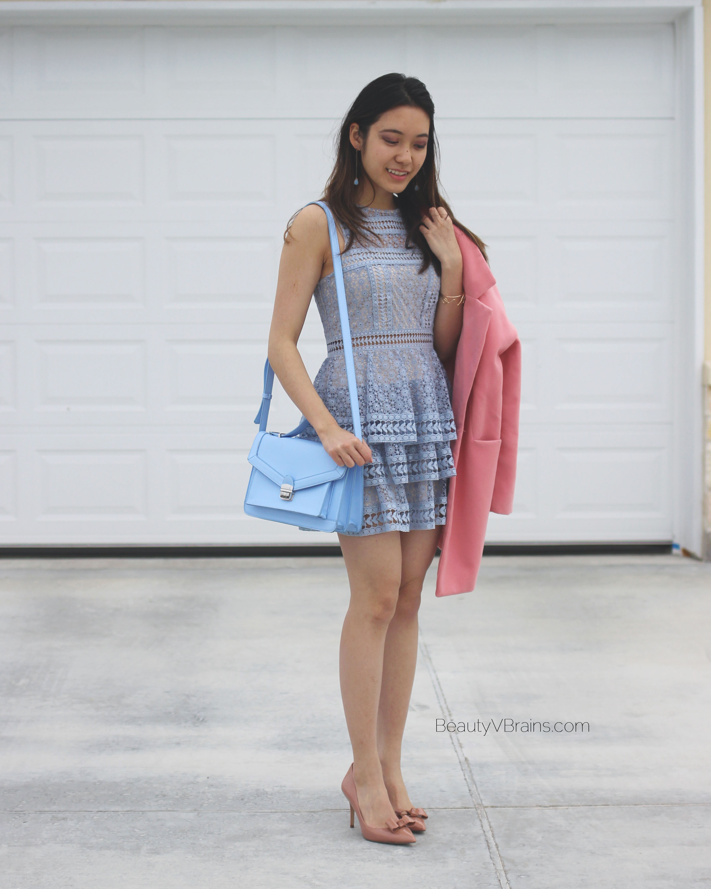 Blue and pink Valentine's date night outfit