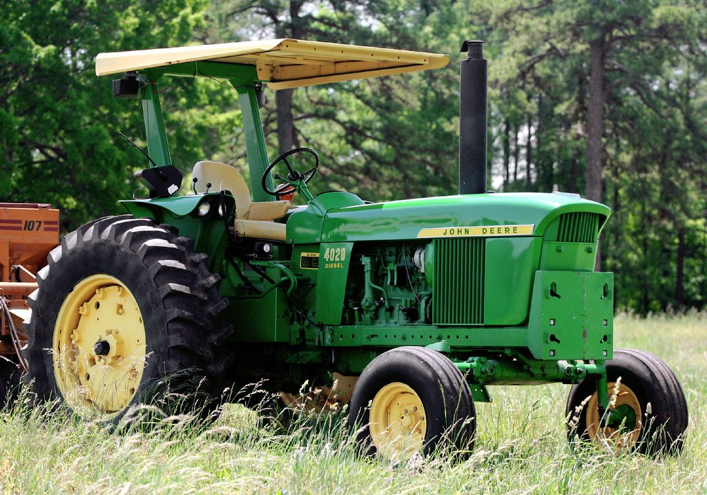 John Deere 4020 From The Other Side Against The Treeline