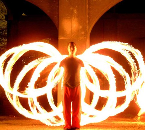 fire poi wings | Photo by Lorne Performer: Nick Woolsey ...