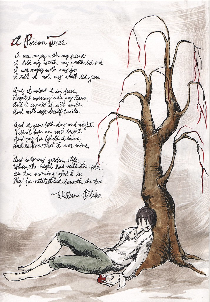 """a poison tree by william blake William blake's """"a poison tree"""" basically uses two symbols (an apple and a tree)  to relate its meaning the tree represents the growing anger."""