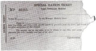 Hawaii Leper Settlement Special Ration Ticket Light Pink