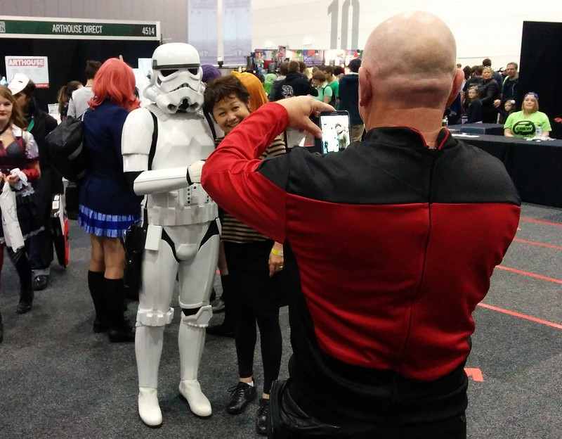 Captain Picard snaps a stormtrooper