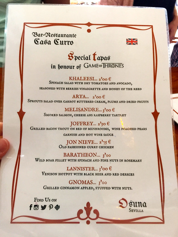 Game of Thrones menu in Osuna