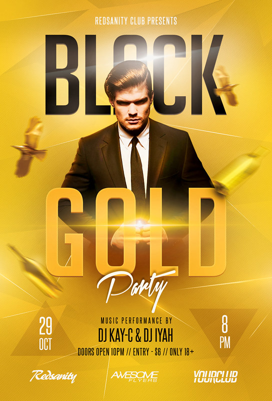 Black Gold Party Flyer Facebook Cover Template DOWNLOAD Flickr