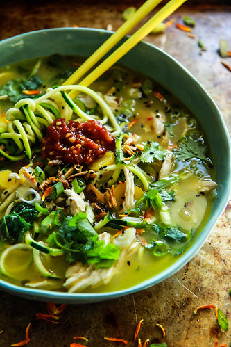 Asian Chicken Zoodle Soup from HeatherChristo.com | by Heather Christo