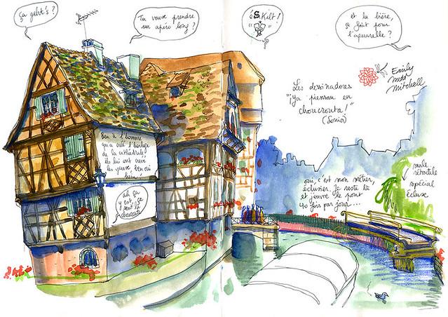 Strasbourg, la Petite France. Il m'a bien fallu 5 bateaux pour avoir le temps de dessiner l'écluse ouverte...