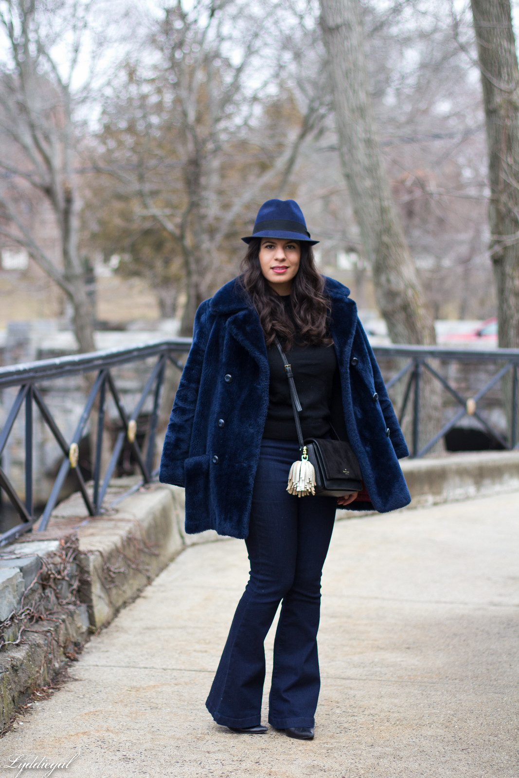 navy fur coat, black sweater, flared jeans, fedora-2.jpg