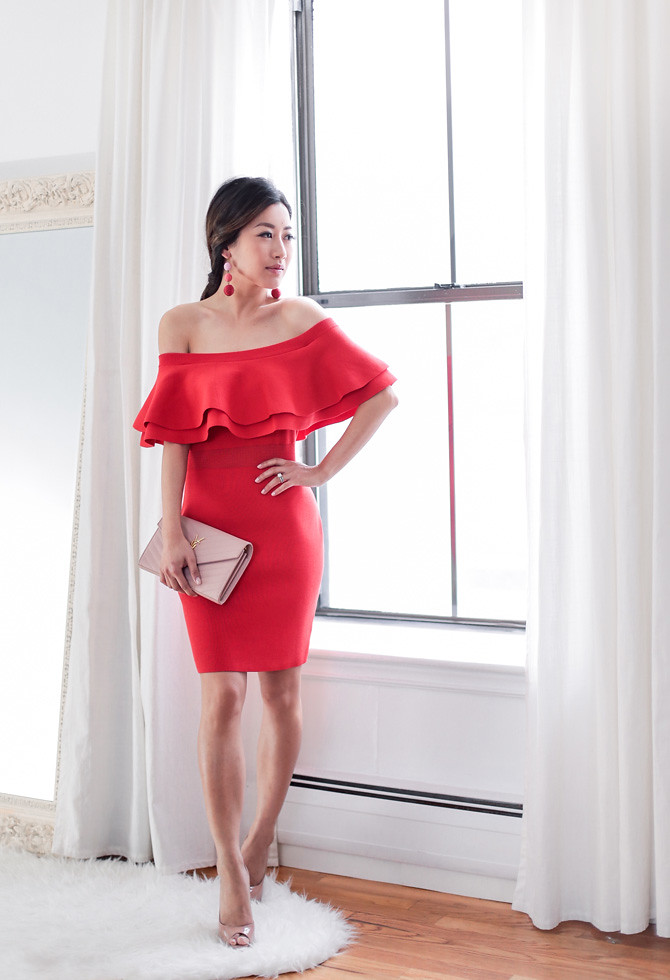what to wear to a wedding red cocktail dress nude pumps