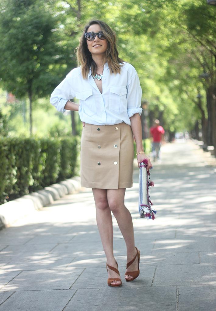Beige Skirt With Blue Shirt01