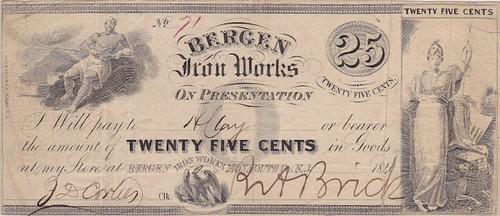 Bergen Iron Works note