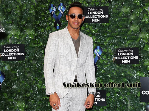 Lewis Hamilton in Snakeskin effect suit with loafers