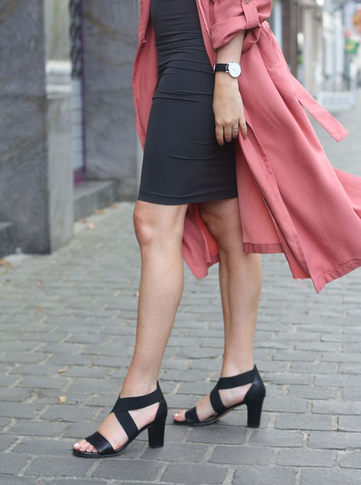 outfit: Wolford Fatal dress paired with a dusty rose trench coat and heeled sandals