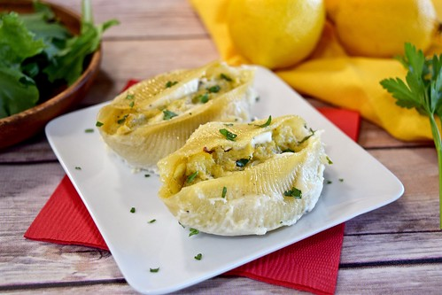 artichoke-stuffed shells with lemon-ricotta béchamel