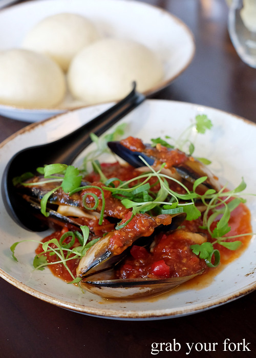 Mussels with homemade chilli sauce and bao at Yan Restaurant in Wolli Creek Sydney