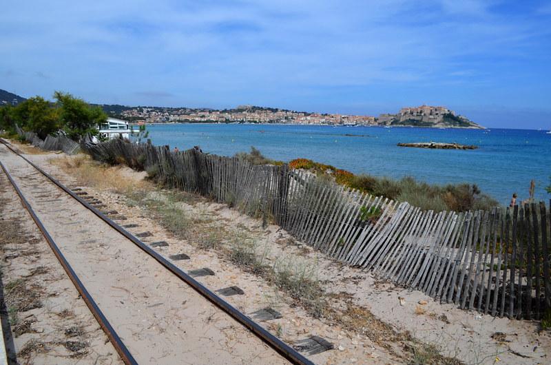 Railway line behind La Plage de la Pinède, Calvi, Corsica