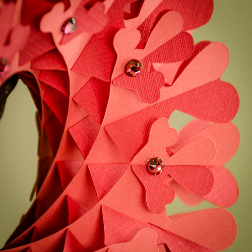 Coral Heart Paper Torus - Close Up