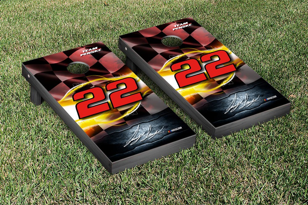 JOEY LOGANO #22 CORNHOLE GAME SET NIGHT LIGHTS VERSION (1)