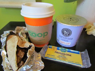 Breakfast Taco, chai and snacks from Wheatsville