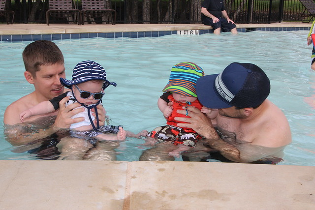 The boys swimming