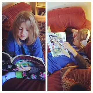 Catie is reading my old Far Side and Calvin & Hobbes books. Big kids are awesome. | by poobou
