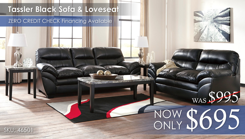 Tassler Black Sofa & Loveseat 46501