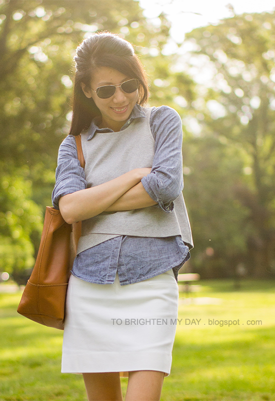 gray cropped top, chambray shirt, white skirt, cognac brown tote