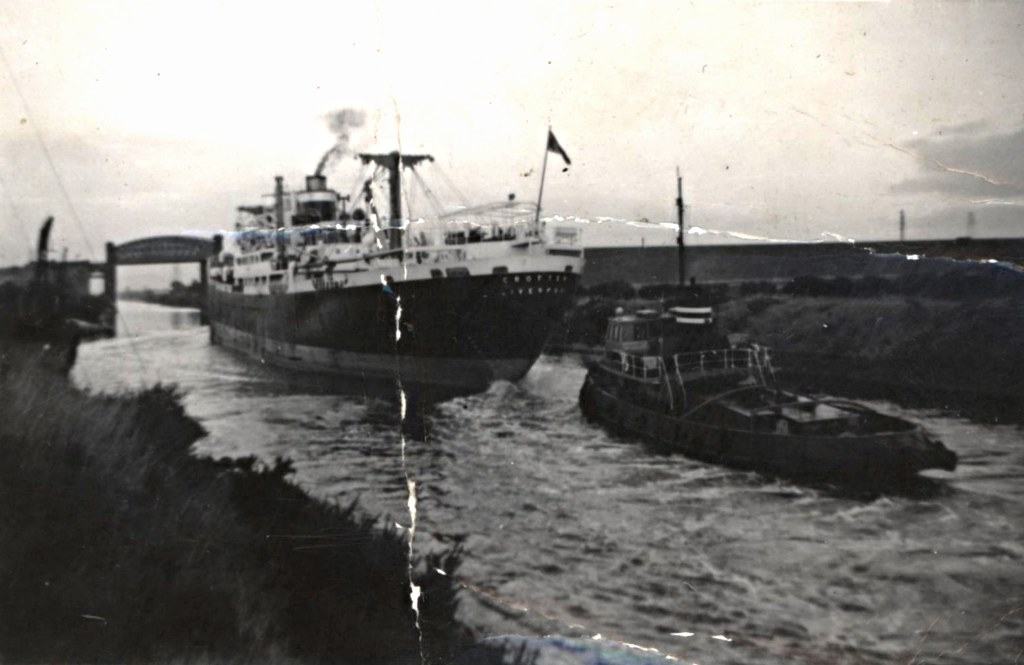 Ss Crofter And Tug On The Manchester Ship Canal Approachin