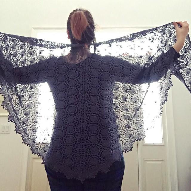 Moonlight Sonata shawl. ❤️ Super fancy photo shoot in pjs and ponytail. #knitting #laceknitting #moonlightsonatashawl