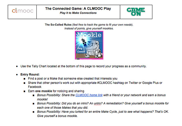 The Connected Game for CLMOOC