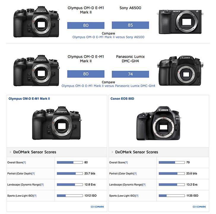 https://www.dxomark.com/Cameras/Compare/Side-by-side/Nikon-D5600-versus-Olympus-OM-D-E-M1-Mark-II-versus-Canon-EOS-80D___1139_1136_1076