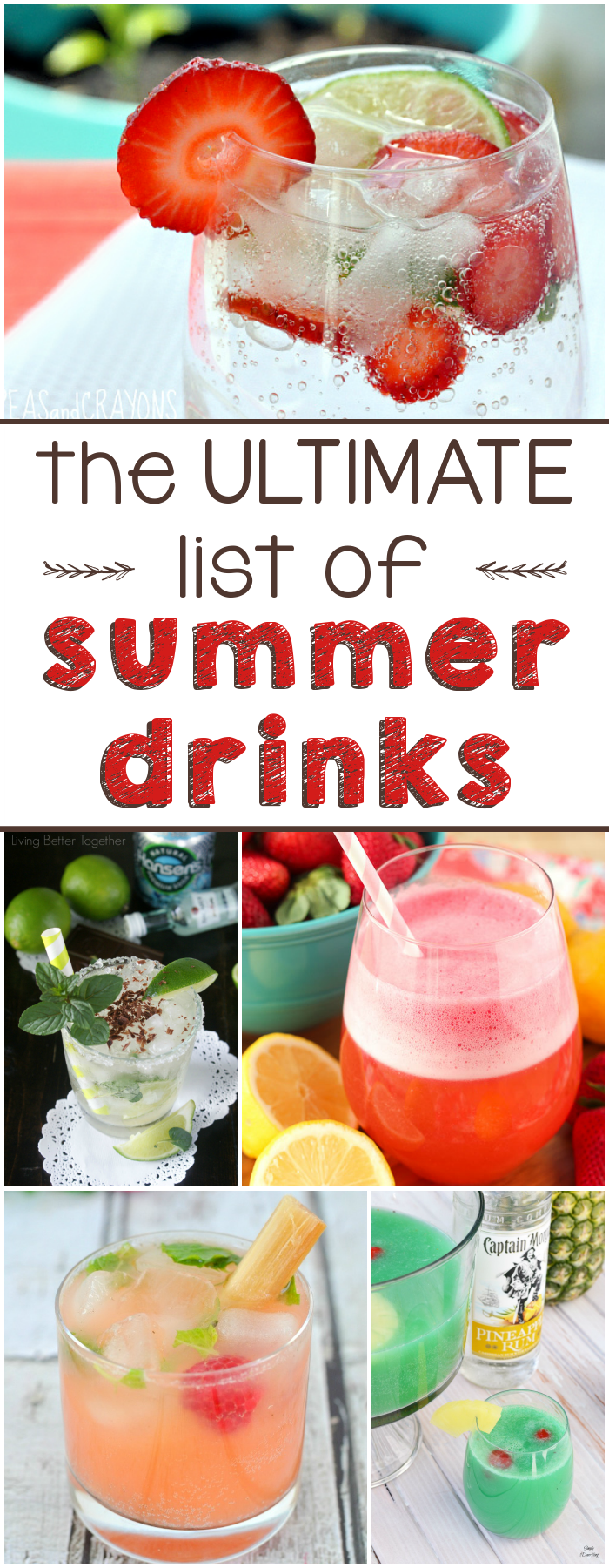 The ULTIMATE list of Summer Drinks collage.