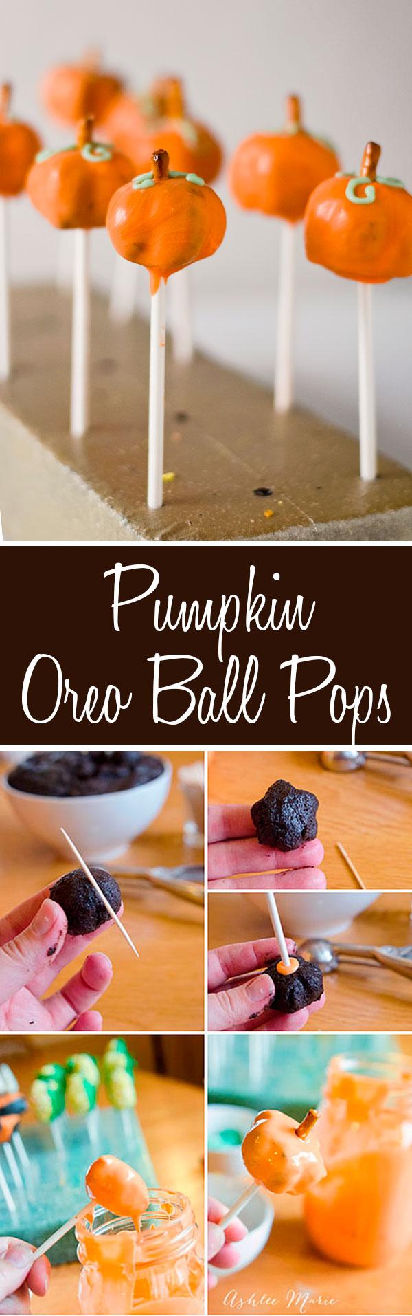 tutorial on how to create a pumpkin shaped OREO ball pop