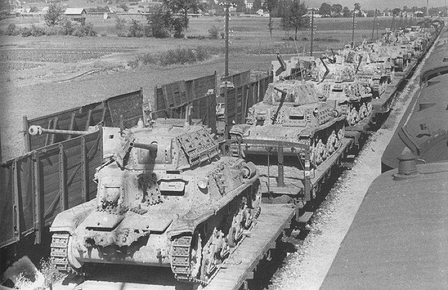 German train laden with PaK 38 AT guns and captured Italia ...