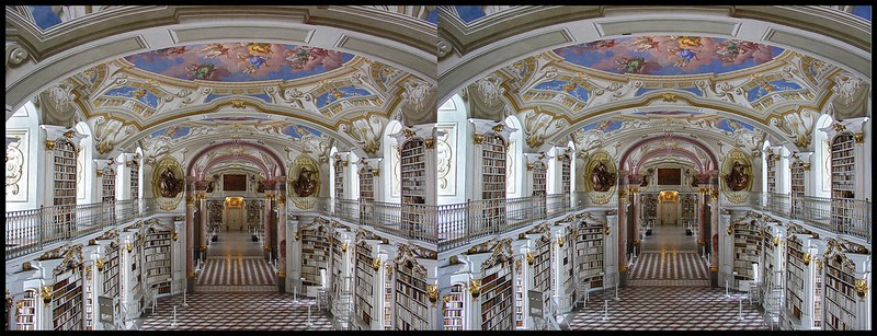LIBRARY OF ADMONT ABBEY  . STEREOSCOPIC VIEW