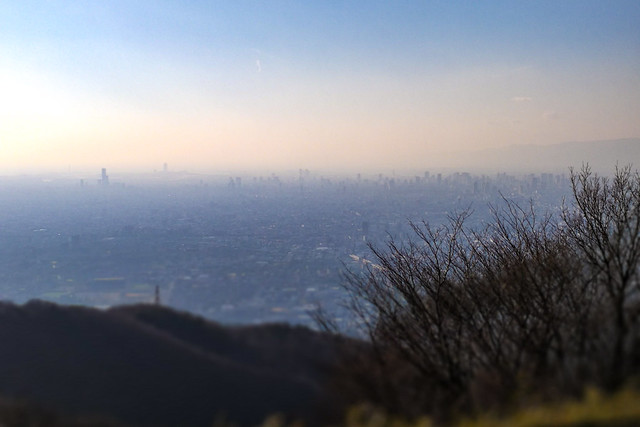 Was pretty hazy and this is digitally enhanced to see Osaka's city skyline.