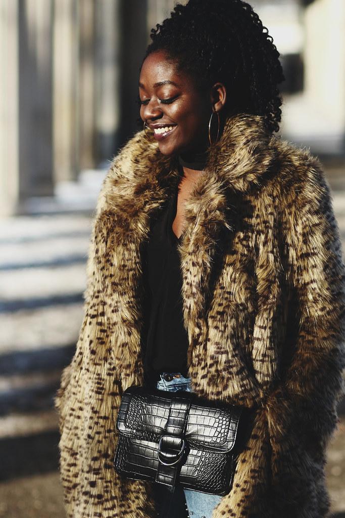 lois opoku leopard print fur coat outfit