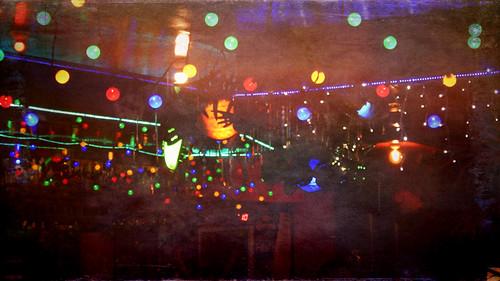 Night club lights in Puerto Vallarta at night