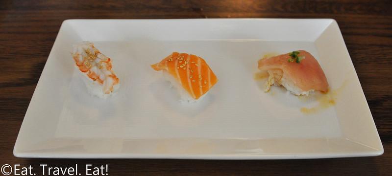 Sugarfish by Sushi Nozawa (Waterside)- Marina Del Rey, CA: Trust Me Lite Sweet Shrimp, Salmon, Albacore Nigiri