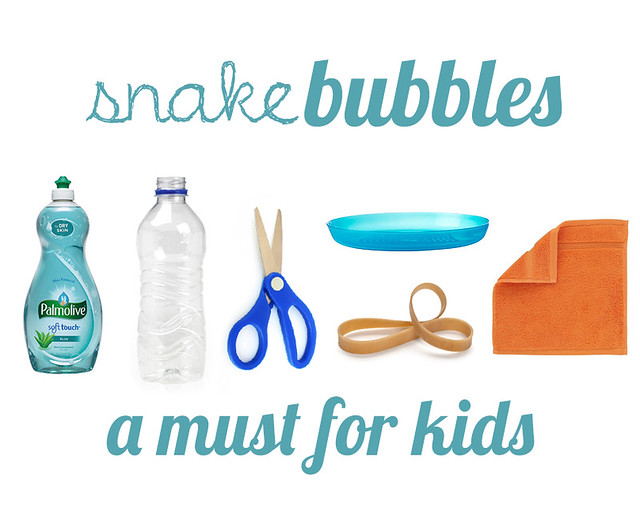 Really simple and cheap DIY for kids. Make lots of fun and long snake bubbles with a few simple items.