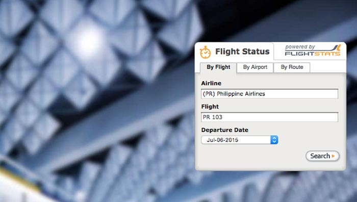 Check flight status using flightstats step 1