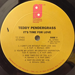 TEDDY PENDERGRASS:IT'S TIME FOR LOVE(LABEL SIDE-A)