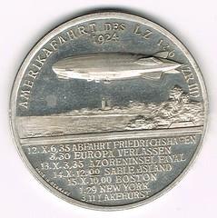 1924 Hugo Eckener Airship Flight Medal reverse
