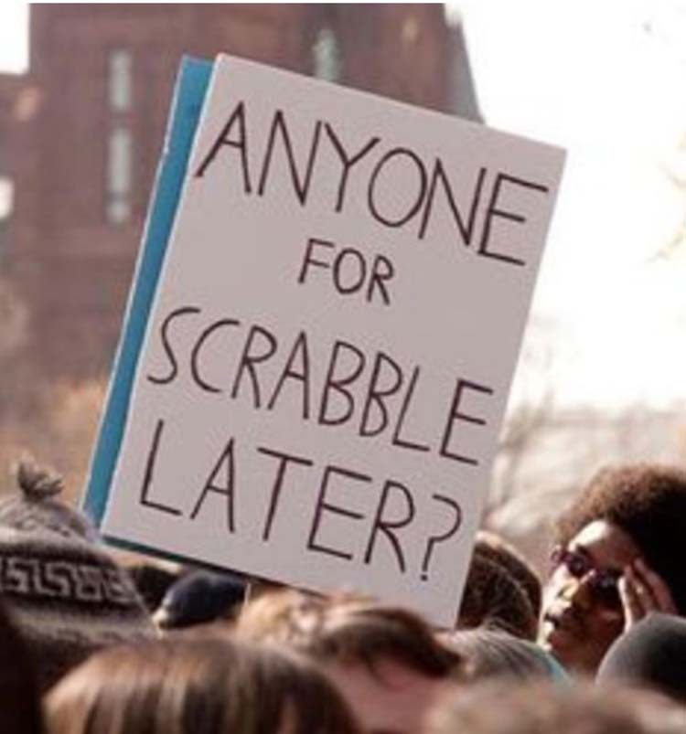 Witty & funny protest signs #17: Scrabble