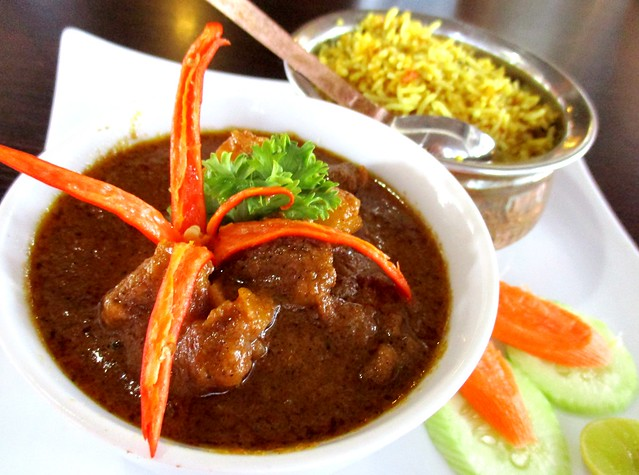 Cafe Ind mutton vindaloo with bryani rice