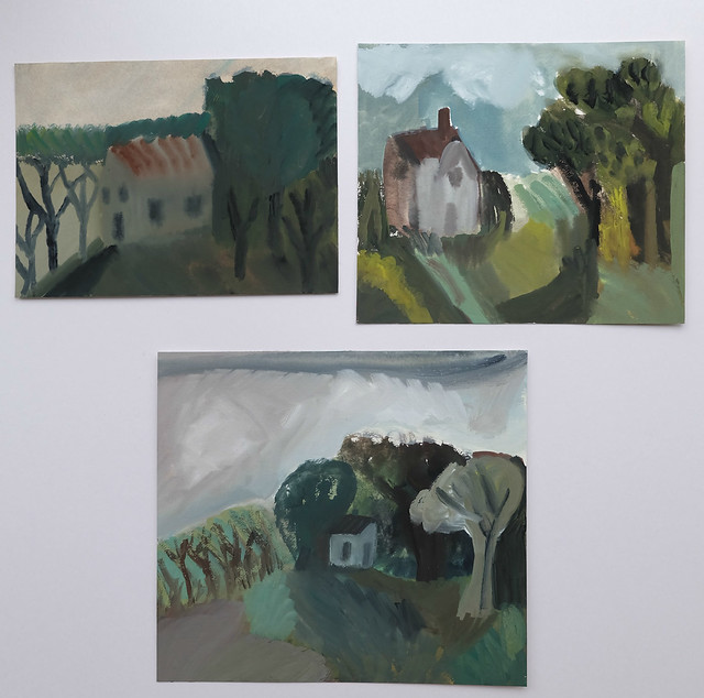 three smaller landscapes