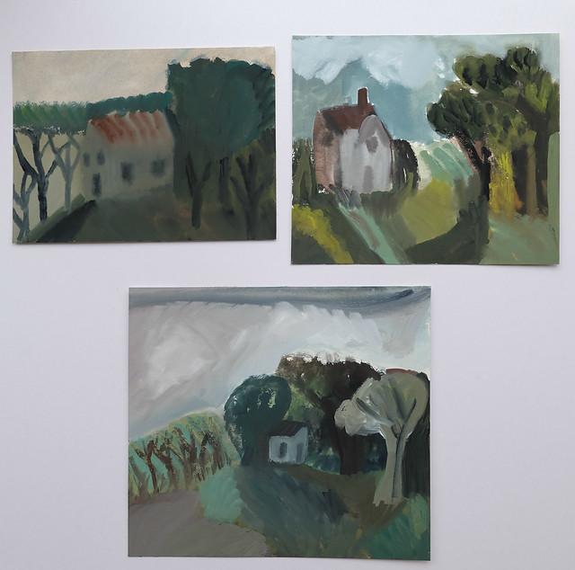 three smaller landscapes